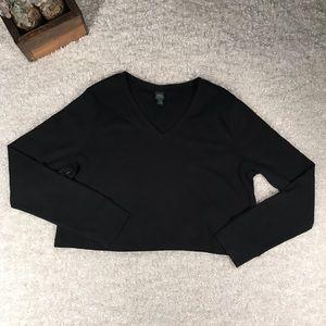 Wild Fable Med Black Long Sleeve V-neck Crop Top